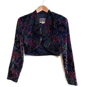 Vintage Velvet Jewel Tone Bolero Jacket